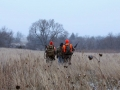 Hunters in the Field while snowing