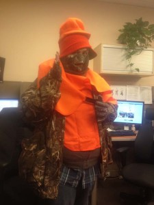 David tried on all the hunting gear at once
