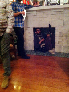Tim in the fireplace